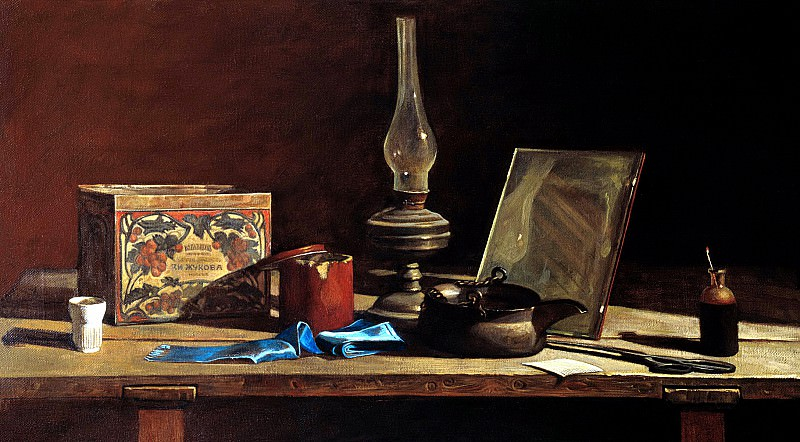 ANOKHIN Nick - Still life with blue ribbon. 900 Classic russian paintings