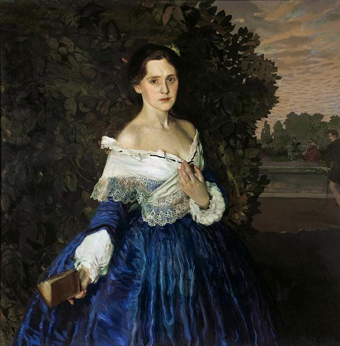Somov Konstantin - Lady in Blue (1897) GTG. 900 Classic russian paintings