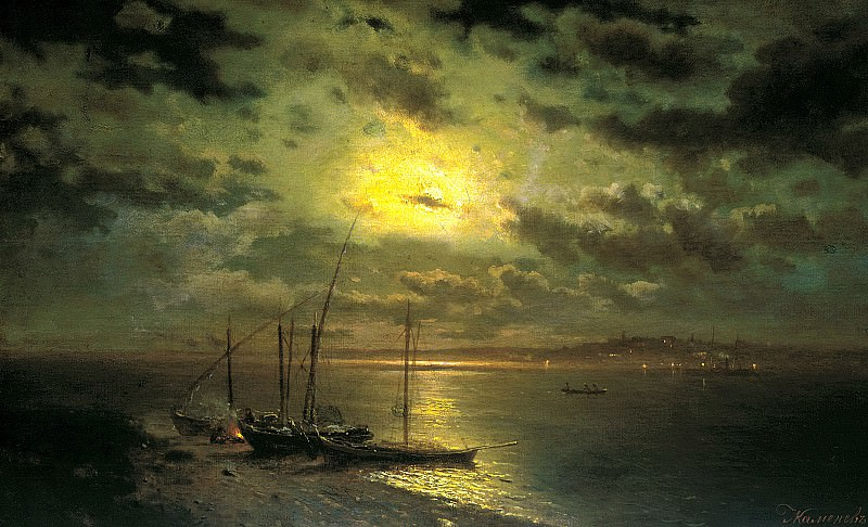 Brick Leo - Moonlit Night on the River. 900 Classic russian paintings