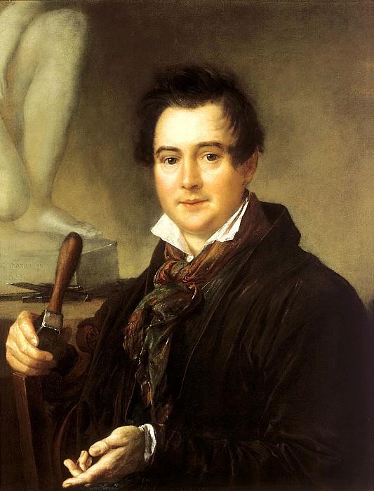 Tropinin Vasily - Portrait of the sculptor Ivan Vitali. 1839. 900 Classic russian paintings
