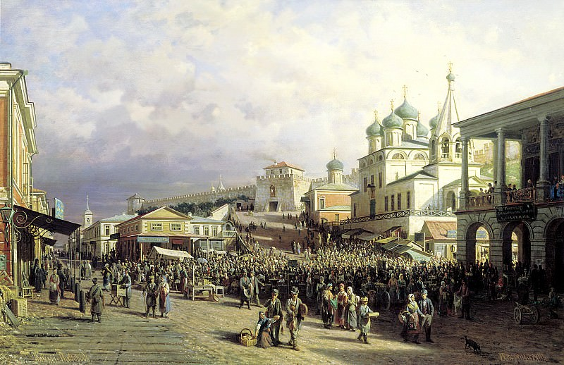 VERESHCHAGIN Peter - The market in Nizhny Novgorod. 900 Classic russian paintings