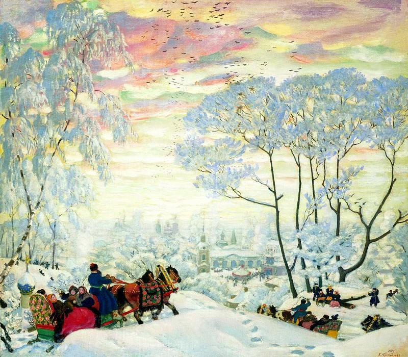 Kustodiyev Boris - Winter. 1916. 900 Classic russian paintings