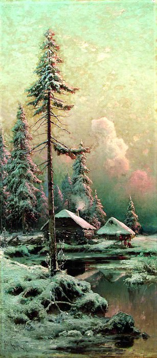 Klever Julius - Winter landscape with cottages by the river. 900 Classic russian paintings