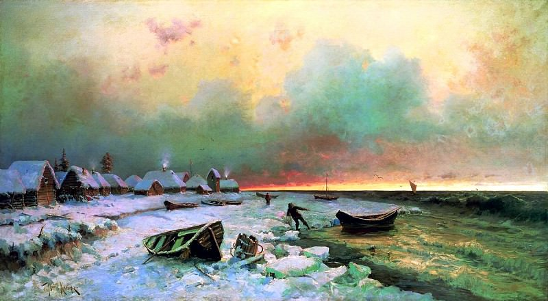 Klever Julius - Village on the island Nargen. 900 Classic russian paintings