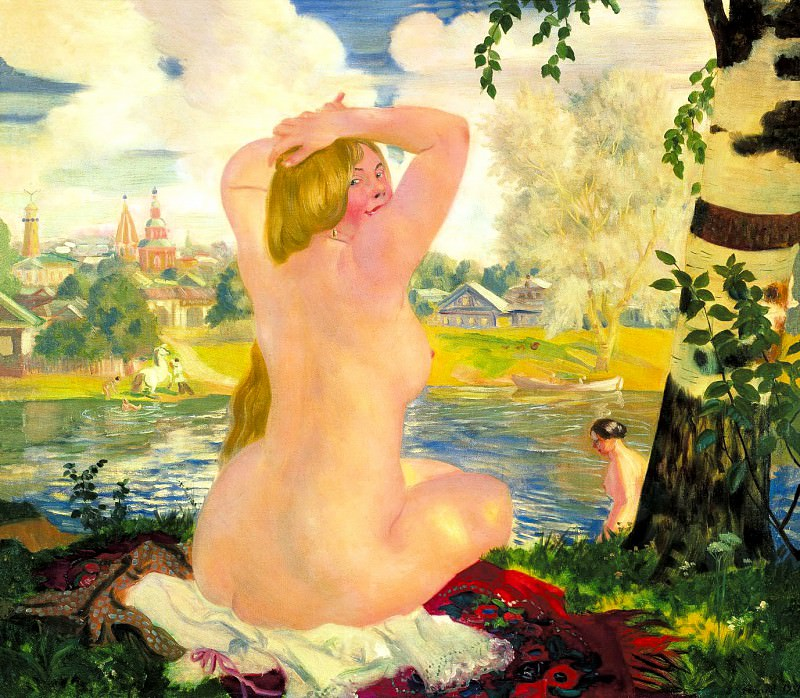 Kustodiyev Boris - Bathing. 900 Classic russian paintings