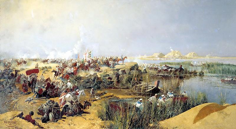 Karazin Nick - Crossing Turkestan detachment across the Amu Darya in 1873. 900 Classic russian paintings