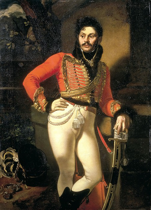 Kiprensky Orestes - Portrait of Life Hussar Colonel Yevgraf Vladimirovich Davydov. 1809. 900 Classic russian paintings