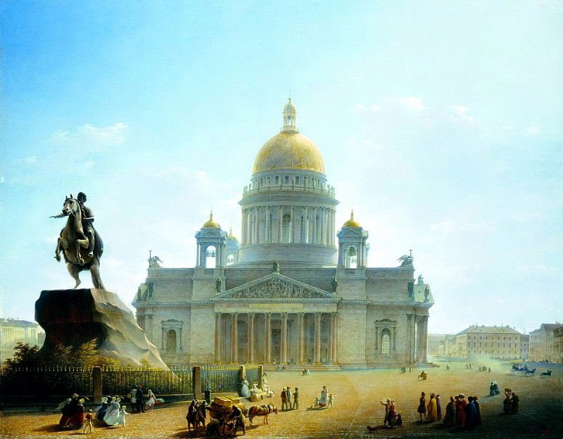 VOROBYEV Maxim - St. Isaacs Cathedral and the monument to Peter I. 1844. 900 Classic russian paintings