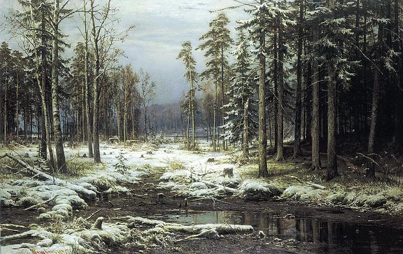 Shishkin Ivan - First Snow. 900 Classic russian paintings