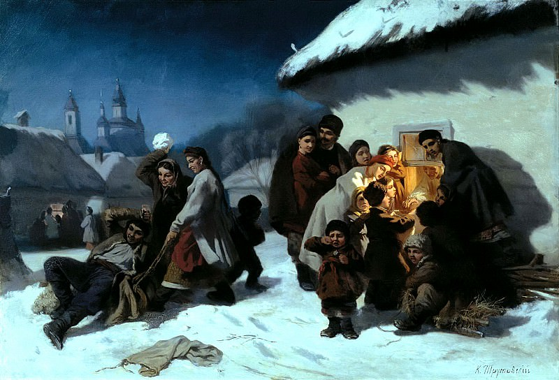 Trutovsky Constantine - Christmas Eve in Little. 900 Classic russian paintings