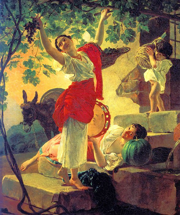 БРЮЛЛОВ Карл - Девушка, собирающая виноград в окрестностях Неаполя. 900 Картин самых известных русских художников