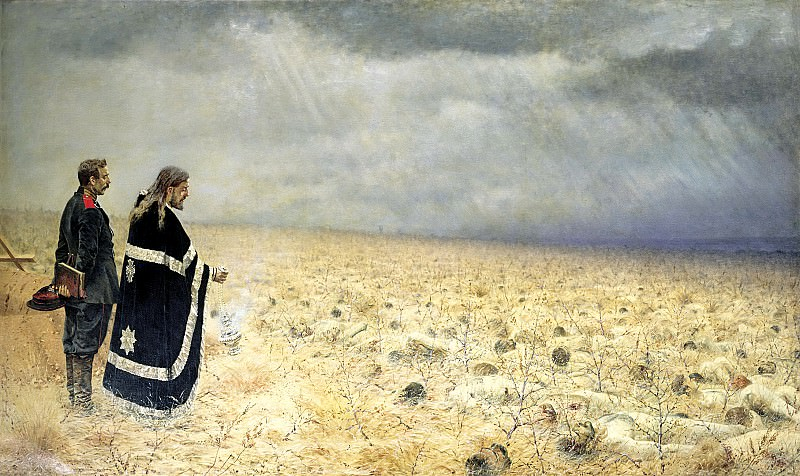Vereshchagin Vasily (Vasilyevich) - Defeated. Requiem. 900 Classic russian paintings