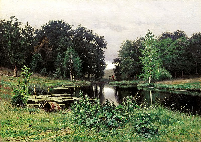 VOLKOV Yefim - Landscape with pond. 900 Classic russian paintings