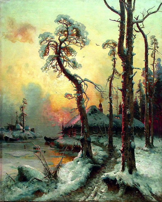 Klever Julius - Winter landscape with river and houses. 900 Classic russian paintings