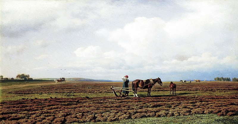 Klodt Mikhail (K.) - On the furrows. 1872. 900 Classic russian paintings