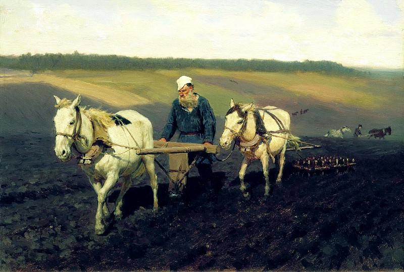 Ilya Repin - Portrait (LN Tolstoy on arable land). 900 Classic russian paintings