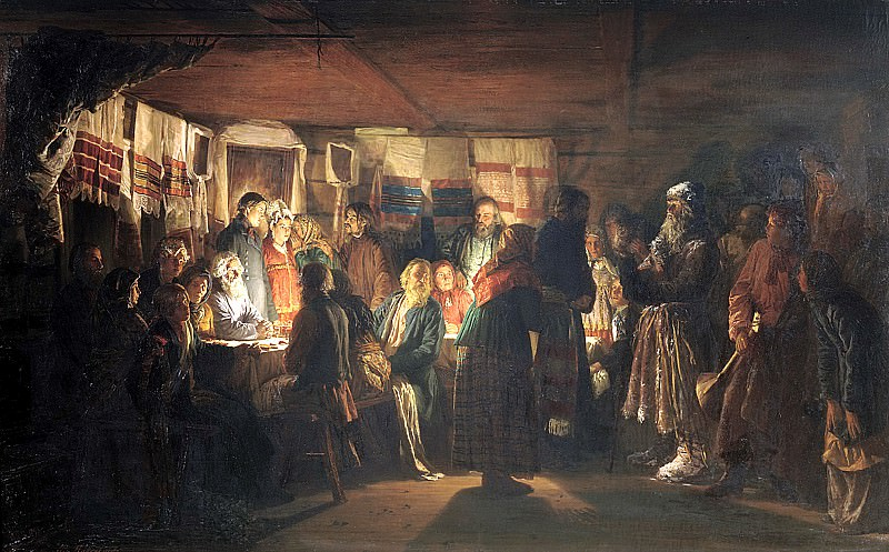 Maximov Vasiliy - Sorcerer comes to a peasant wedding. 900 Classic russian paintings