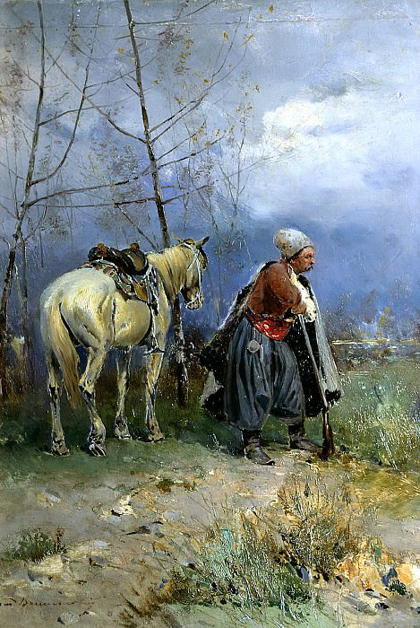 Vasilkovsky Sergey - Zaporozhets to post. 900 Classic russian paintings