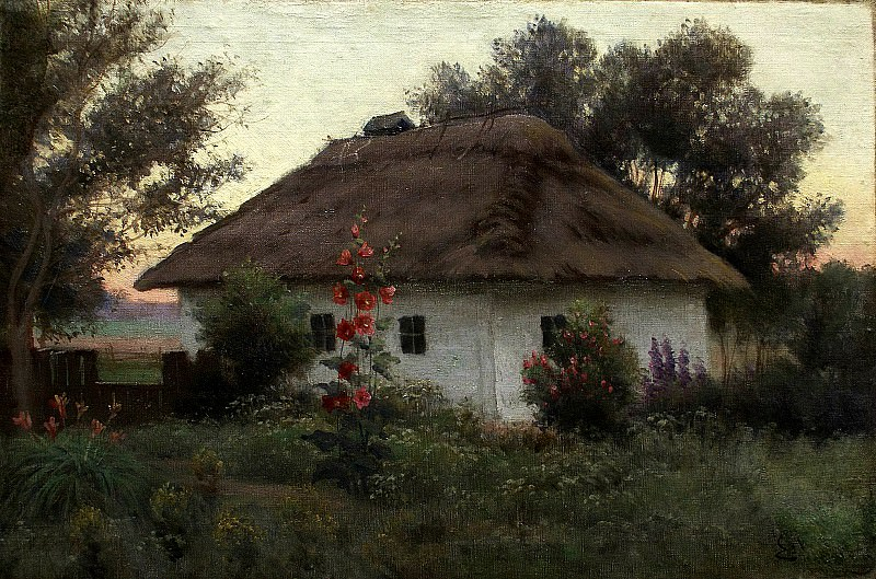 VOLKOV Yefim - Ukrainian landscape with cottage. 900 Classic russian paintings
