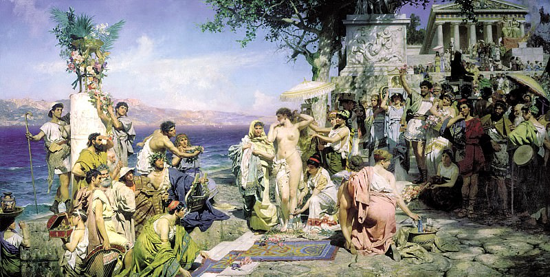 Semiradsky Henry - Phryne at the festival of Poseidon at Elevzine. 900 Classic russian paintings