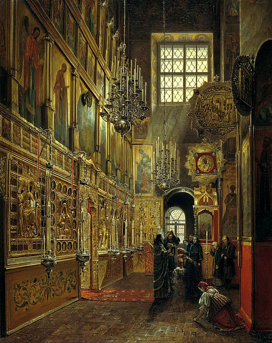 SHUHVOSTOV Stepan - Internal view of Alexis Church Chudova monastery in the Moscow Kremlin. 900 Classic russian paintings