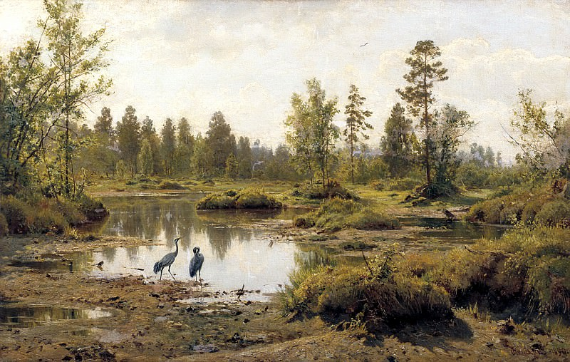 Shishkin Ivan - Swamp. The Cranes.. 900 Classic russian paintings