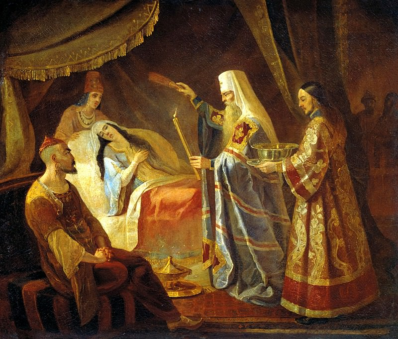 Kapka Jacob - Healing Metropolitan Alexei Tayduly, wife Chanibeka, Khan of the Golden Horde. 900 Classic russian paintings