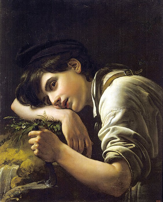 Kiprensky Orestes - A young gardener. 1817. 900 Classic russian paintings