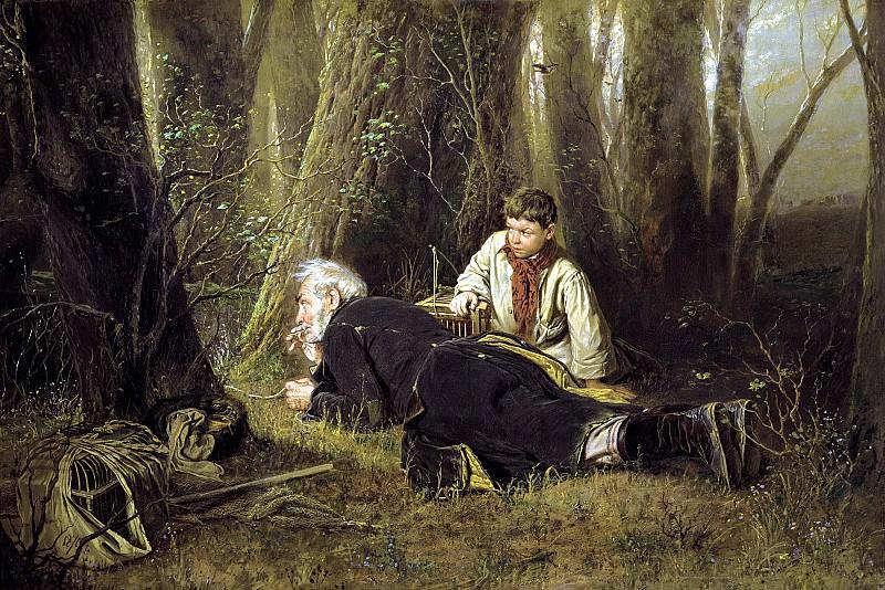Perov Vasily - Fowler. 900 Classic russian paintings