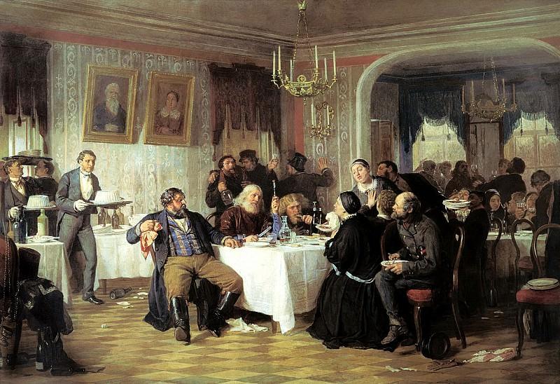 ZHURAVLYOV Firs - Merchant wake. 900 Classic russian paintings