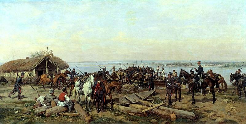 KOWALEWSKI Paul - Crossing the Danube. 900 Classic russian paintings