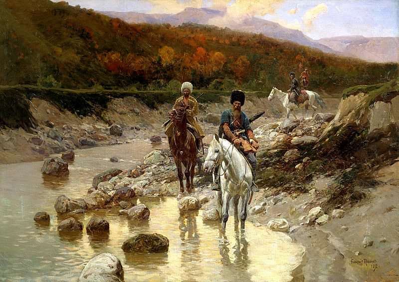 Franz Roubaud - Cossacks in the mountain river. 900 Classic russian paintings