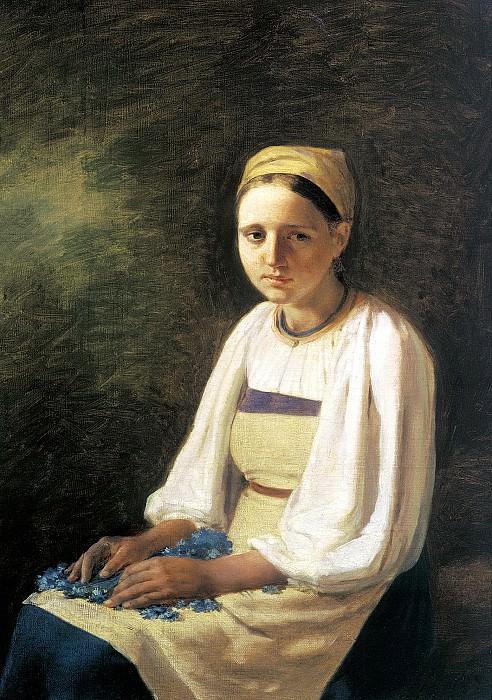 Venetsianov Alexei - Peasant with cornflowers. 900 Classic russian paintings