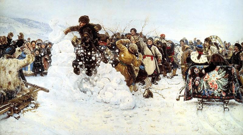 СУРИКОВ Василий - Взятие снежного городка. 900 Картин самых известных русских художников