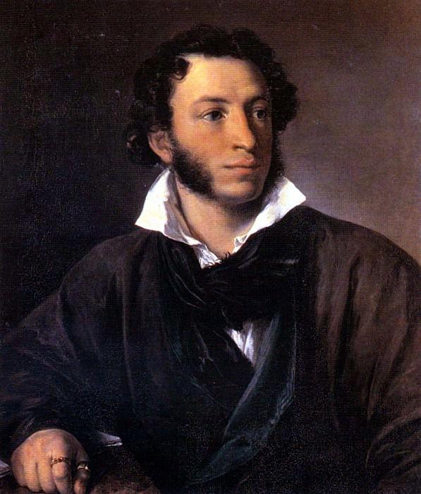 Tropinin Vasily - Portrait of Alexander Pushkin (1827) (All-Russian Pushkin Museum of St. Petersburg). 900 Classic russian paintings