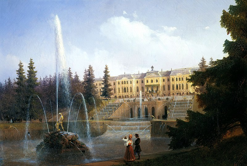 Aivazovsky, Ivan - View of the Grand Cascade at Peterhof. 1837. 900 Classic russian paintings