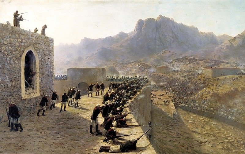 Lagorio Lev - Rebuffed by the assault on the fortress Bayaset June 8, 1877. 900 Classic russian paintings