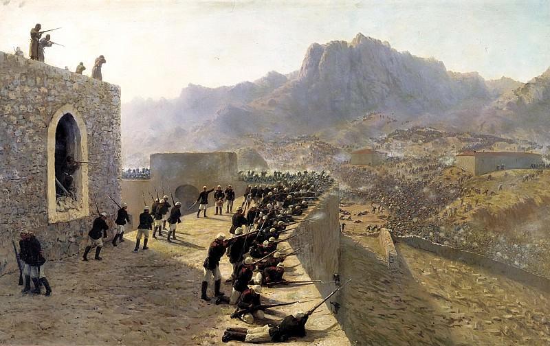 ЛАГОРИО Лев - Отбитие штурма крепости Баязет 8 июня 1877 года. 900 Картин самых известных русских художников