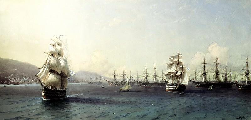 Ivan Aivazovsky - The Black Sea Fleet in Feodosiya. 900 Classic russian paintings