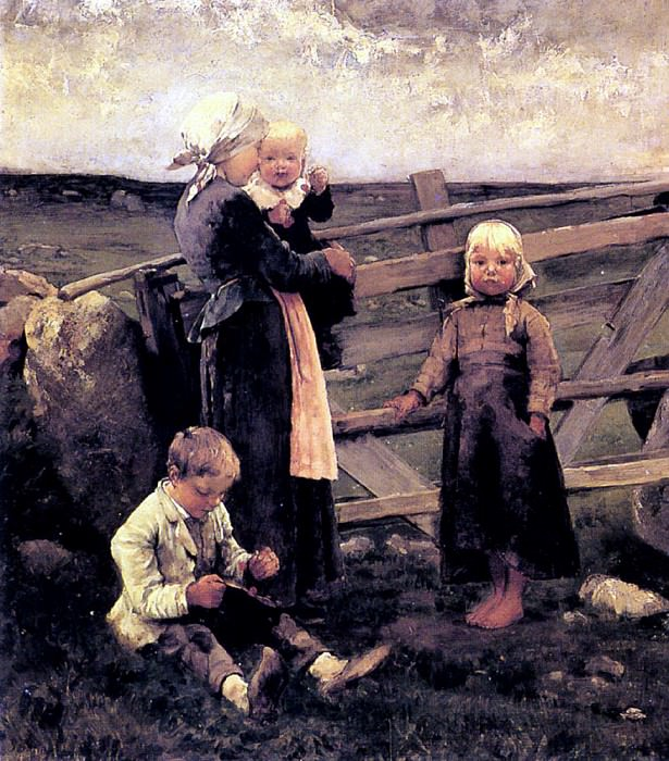 Blommers Bernardus Johannes Children With Cherries. Dutch painters