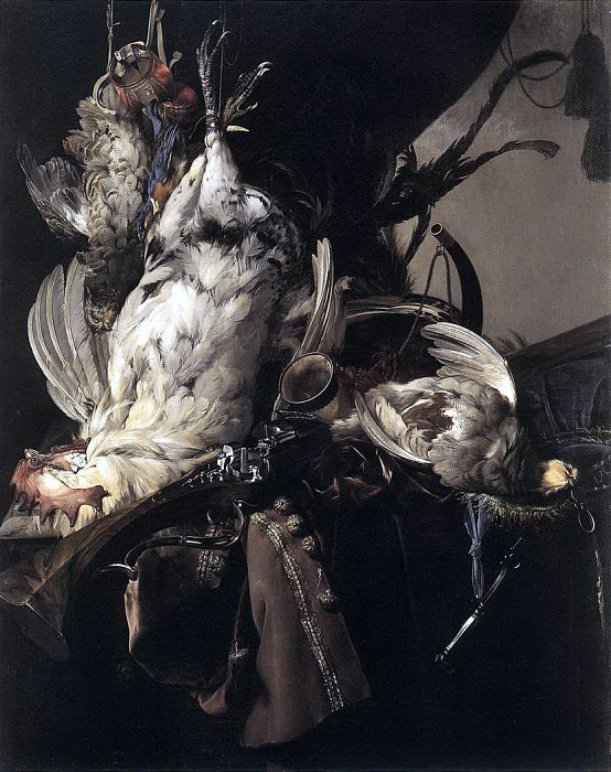 AELST Willem Van Still Life Of Dead Birds And Hunting Weapons. Dutch painters
