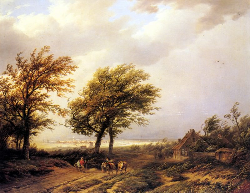 Bodeman Willem Travellers In An Extensive Landscape With A Town Beyond. Dutch painters