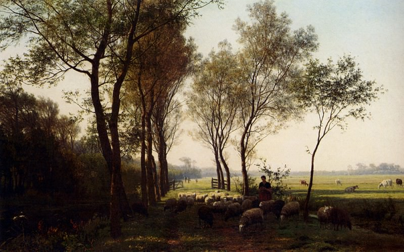Bakhuyzen Julius Jacobus Van De Sande A Shepherdess And Her Flock On A Country Lane. Dutch painters