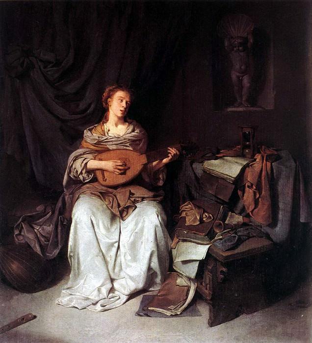 Бега, Корнелис Питерс - Женщина, играющая на лютне. Голландские художники