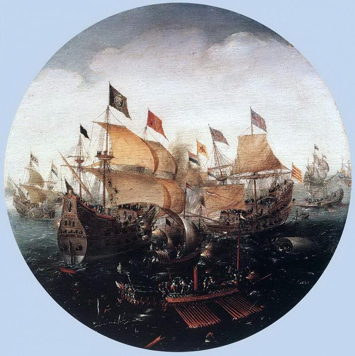 ANTHONISZ Aert Sea Battle Between Dutch And Spanish Boats. Dutch painters