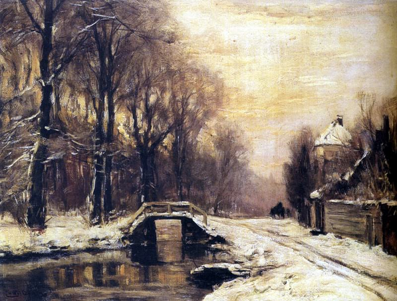 Apol Louis A Snowcovered Forest With A Bridge Across A Stream. Dutch painters