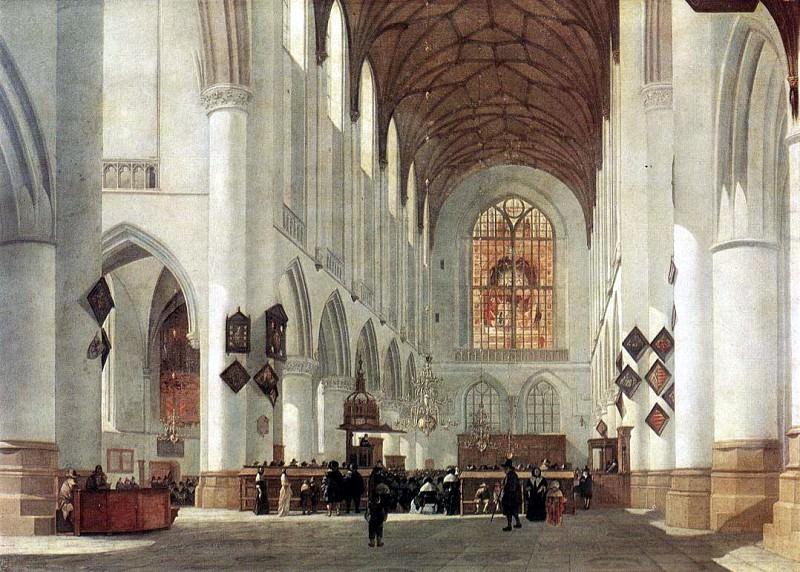 Беркхейде, Иов А́дриансзон - Внутренний вид церкви Св. Бавона в Харлеме. Голландские художники