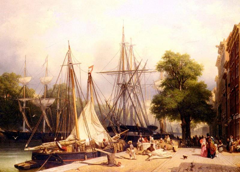 Groot Frans Arnold Breuhaus de Activity By The Docks. Dutch painters