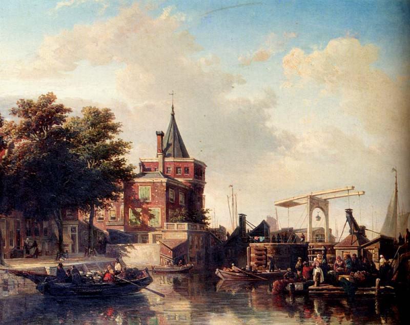 Bommel Elias Piter Van View Of The Schreierstoren Amsterdam In Summer. Голландские художники