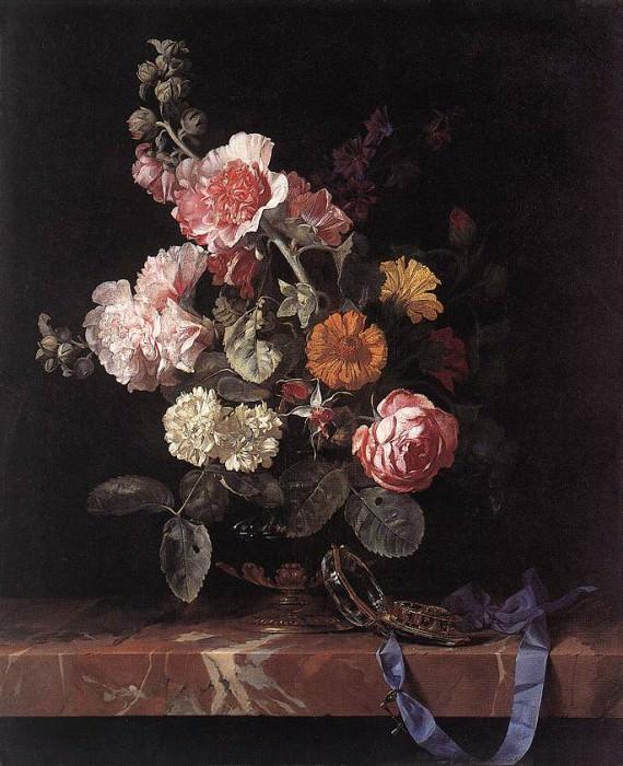 Виллем ван Алст - Ваза с цветами и часы. Голландские художники